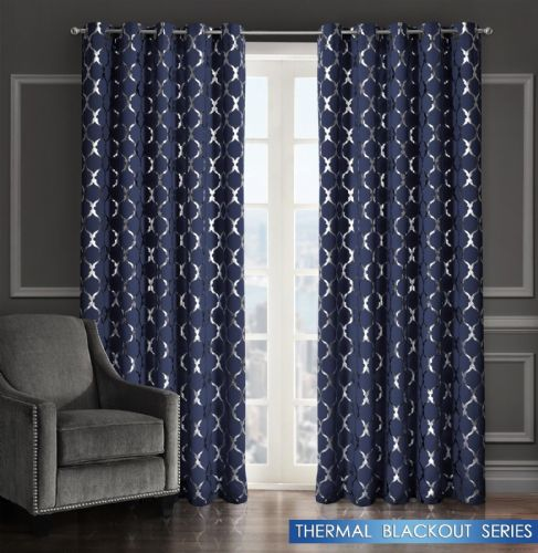 GEOMETRIC LATTICE METALLIC LIVINGROOM BEDROOM THERMAL BLACKOUT RING TOP CURTAINS NAVY